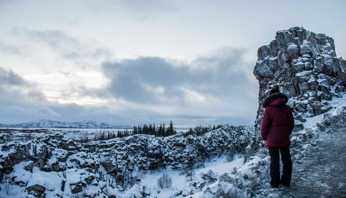A woman in a puffer jacket looks out over the snow in Iceland