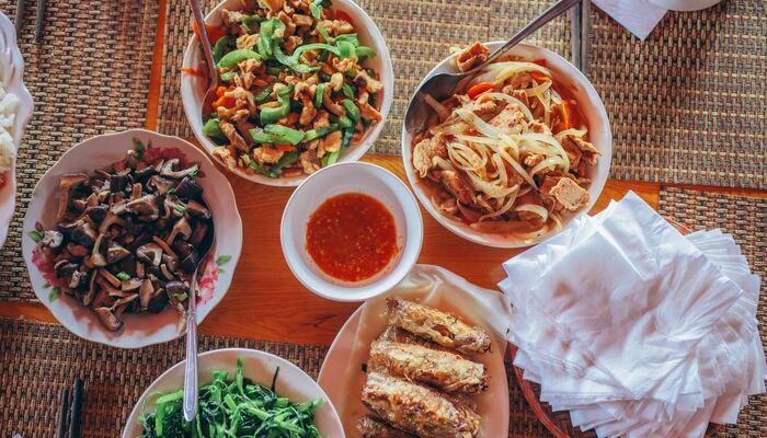 A collection of foods on a table in Sapa Vietnam
