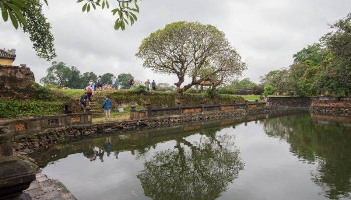 A calm pool in Hue, Vietnam.