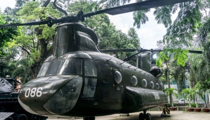 An old army helicopter in Vietnam
