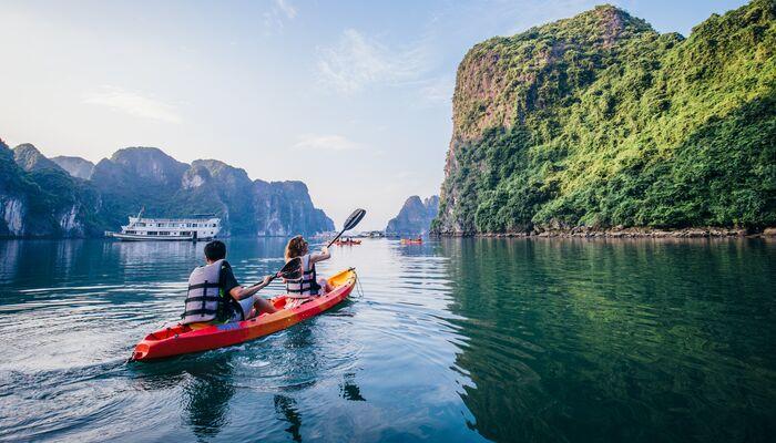 Two travellers kayaking