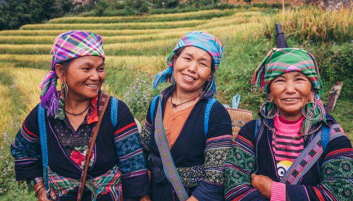 Three local women in Sapa, Vietnam