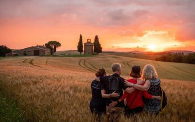 Group in the countryside at sunset