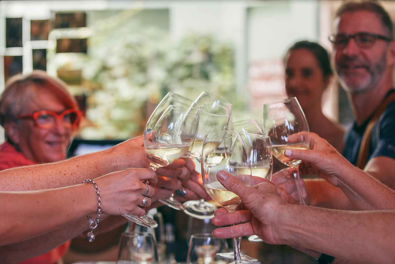 enjoying wine