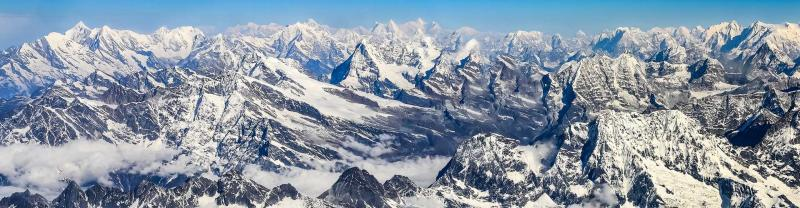 Aerial view of rugged mountaintops of Mount Everest and the surrounds