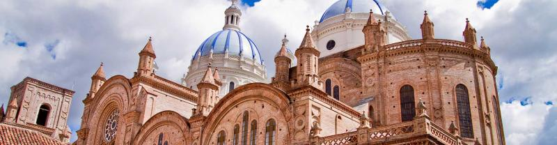 Detailed architecture of cathedral domes in Cuenca on a sunny day