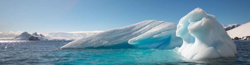 Blue iceberg panorama, Antarctica