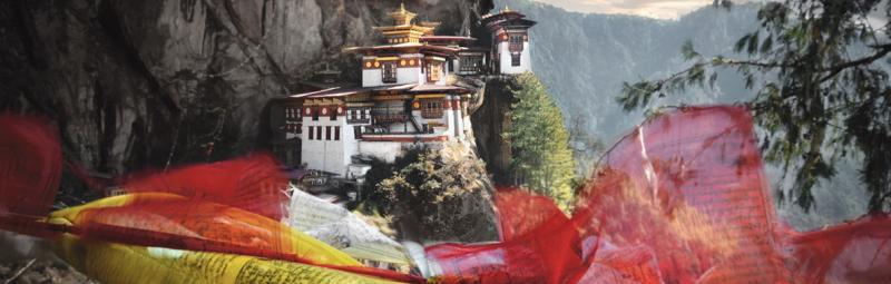 bhutan paro tigers nest monastery prayer flags