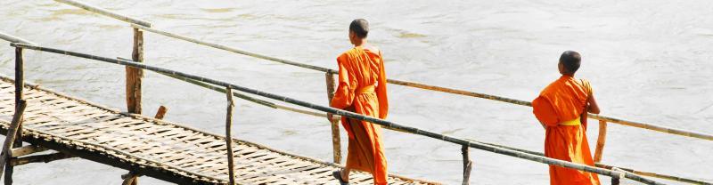 Laos Luang Prabang Monks Bridge