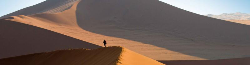 Namibia Sossusvlei Sand Dunes Person Walk