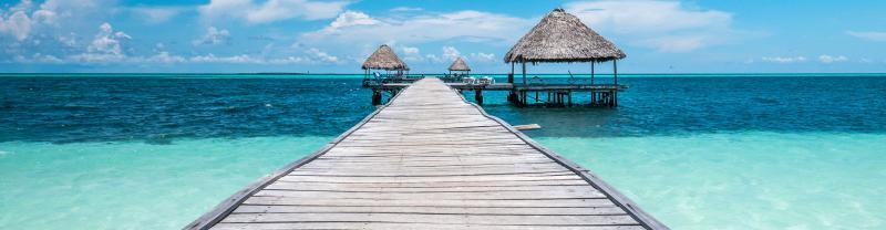 wooden hut built in Caribbean sea of Cuba