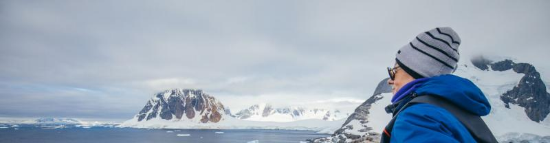 Female traveller in Antarctica
