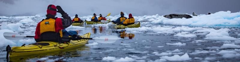 Kayaks in Antarctic