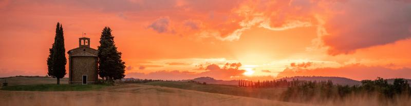 Sunset over the hills in Tuscany, Italy