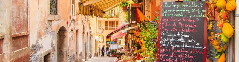Local street scene in Italy with Peregrine Adventures