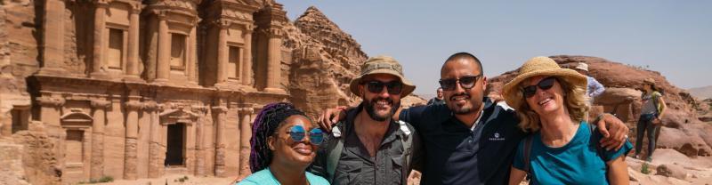 travellers and group leader in Jordan