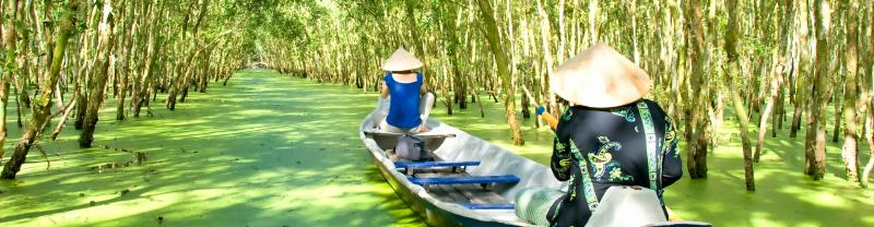 Exploring the Mekong Delta in Vietnam.