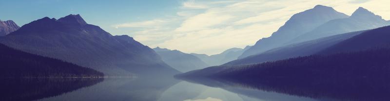 Lake and mountain landscape scene