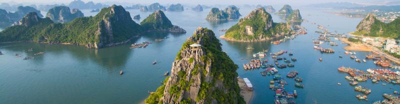 Ha Long Bay beach area of Vietnam