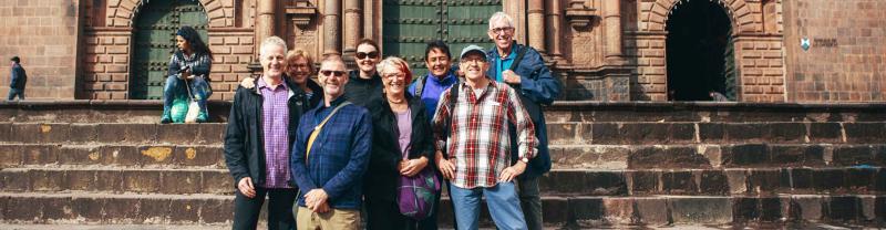 Tour group in Cusco town square, Peru