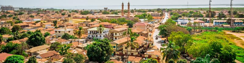 Houses and buildings in Banjul, the capital of Gambia