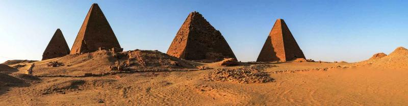 Pyramids of Jebel Barkel amongst sand dunes in Sudan