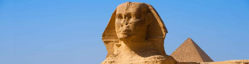 The Sphinx and Great Pyramids of Egypt in Cairo