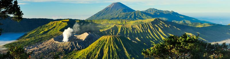 Indonesian mountains with volcanoes