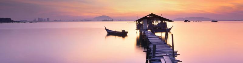 Malaysia Penang boats sunset