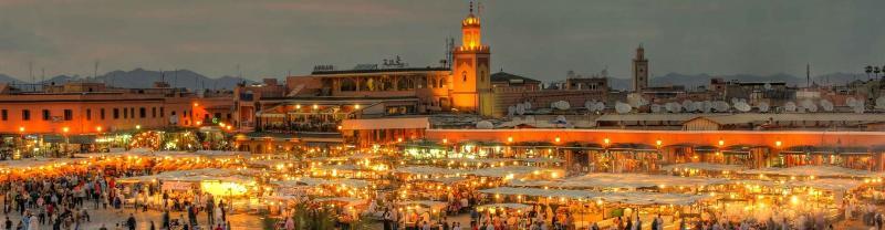 The Djemaa El-Fna market at night in Marrakech