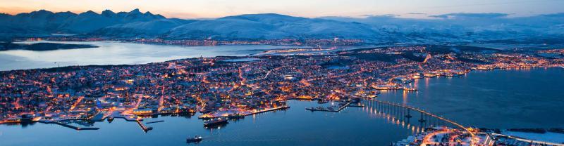 Norway Tromso town aerial dusk