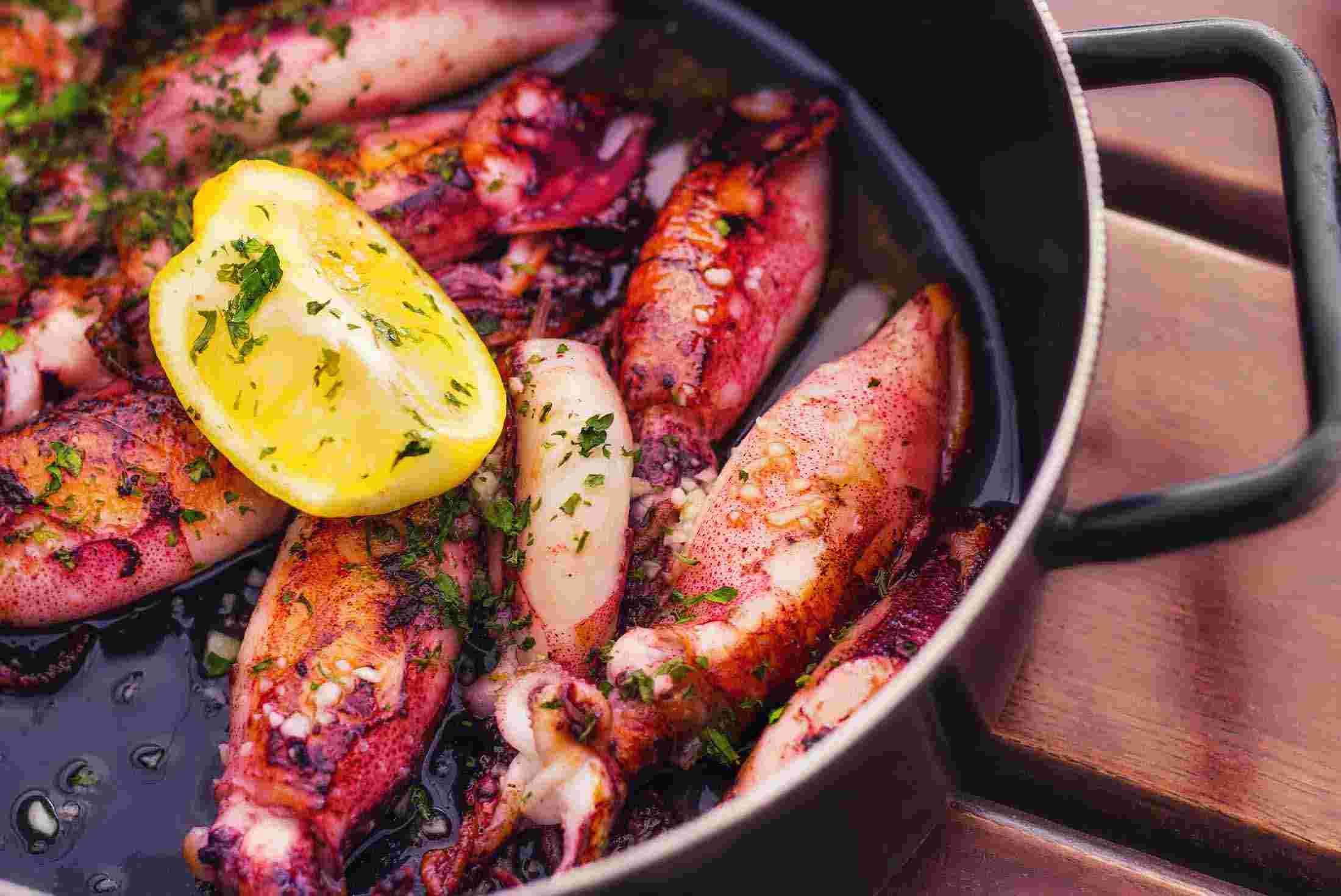 Adriatic squid prepared by locals in Croatia