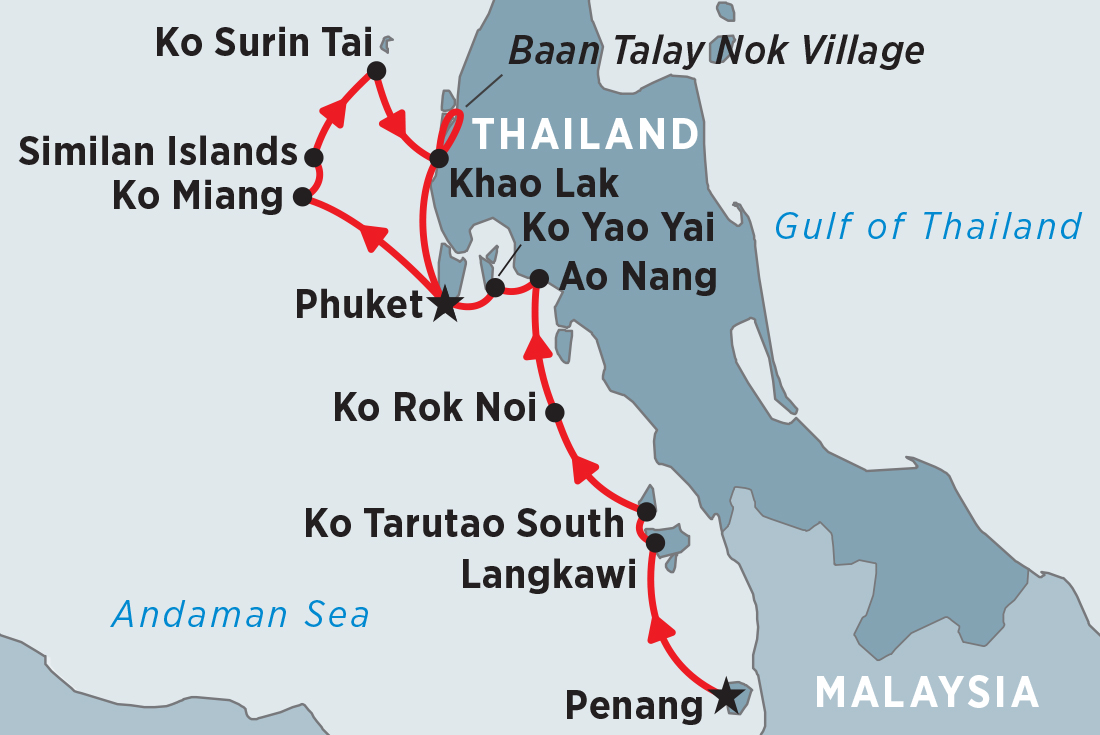 Map Of Cruising Malaysia Thailand Northbound Penang To Et Including And