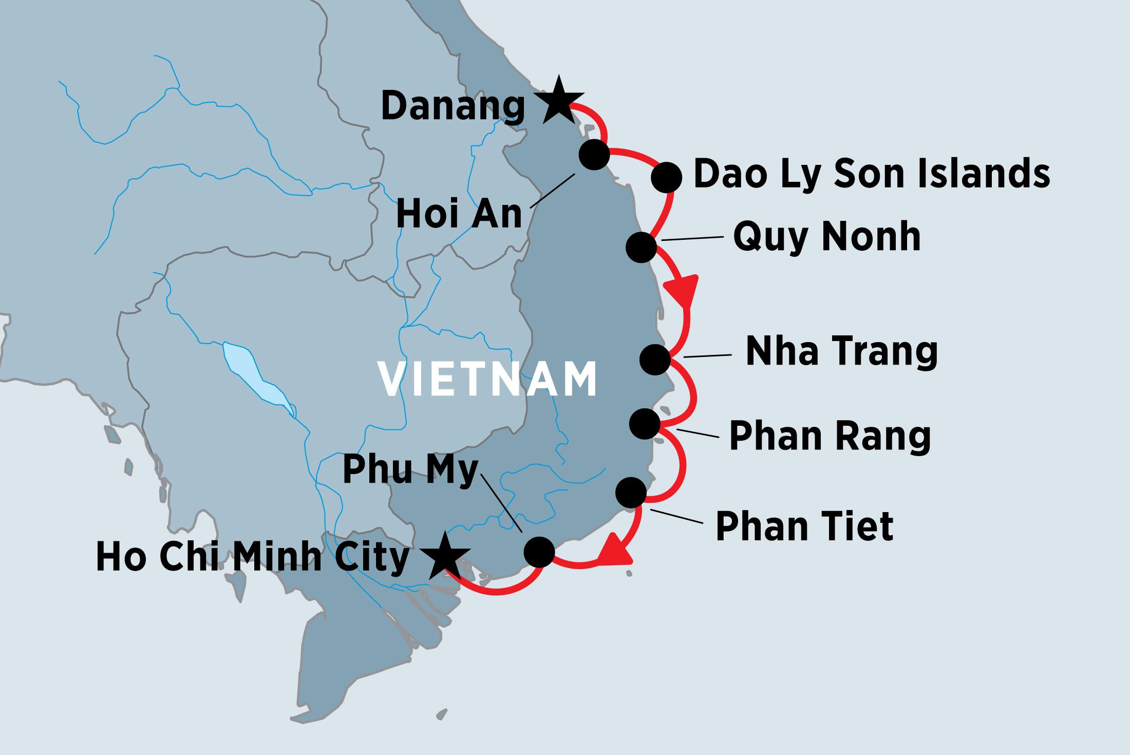 map of south vietnam coastal cruising danang to ho chi minh including vietnam