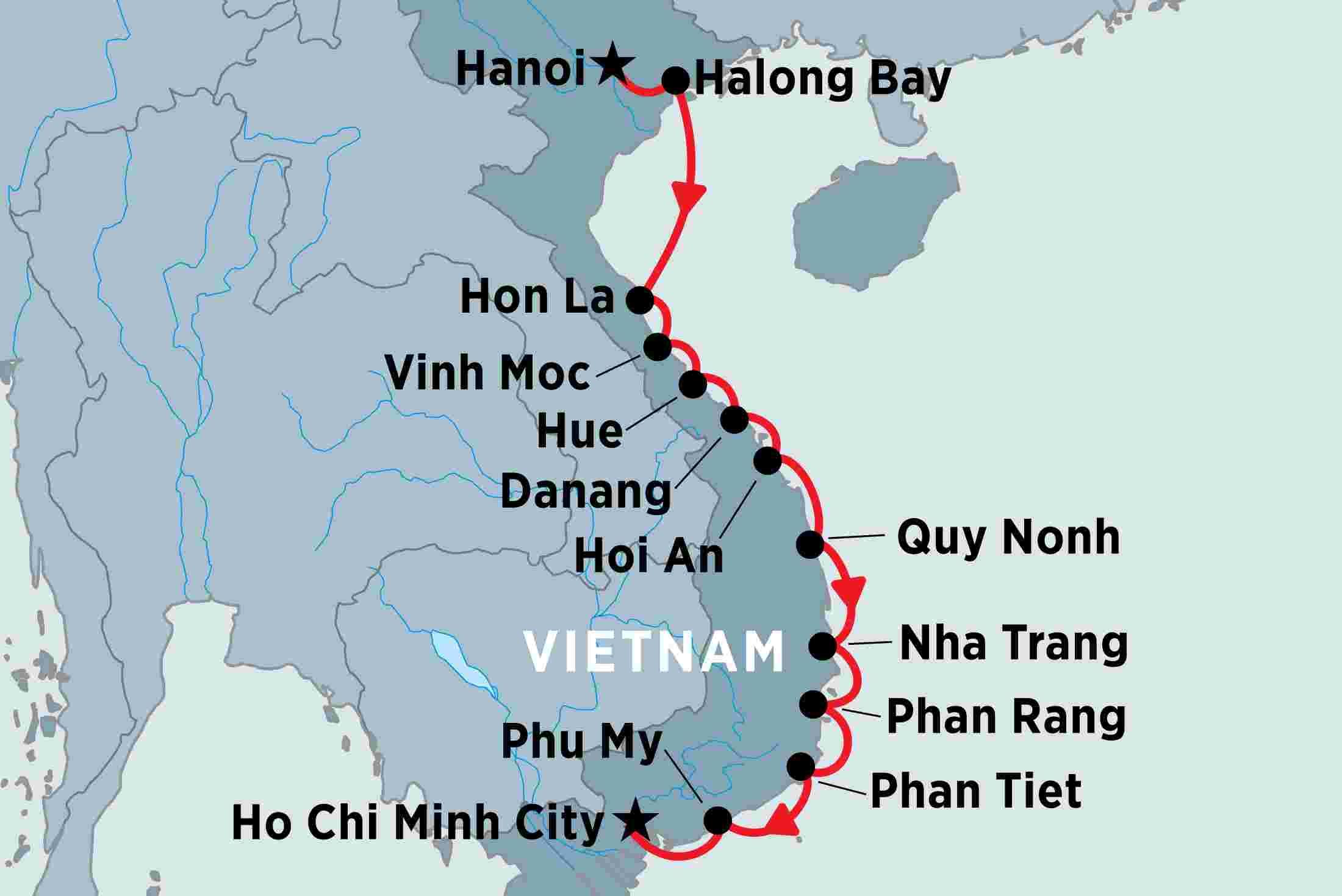 Ho Chi Minh Vietnam Map.Cruising The Coast Of Vietnam North To South Peregrine Adventures Nz