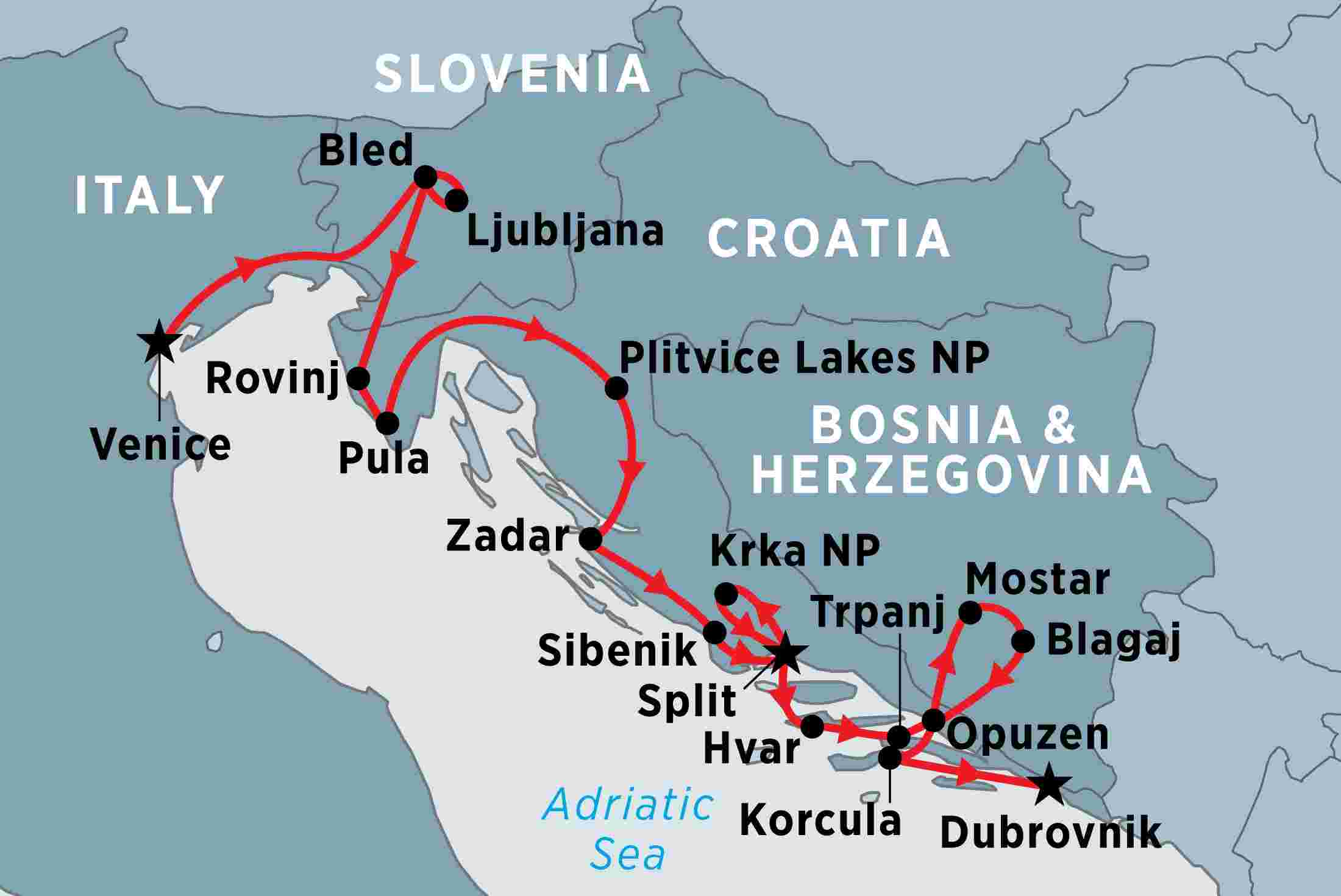 map of slovenia croatia by land and sea including bosnia and herzegovina croatia
