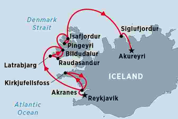 Map of Cruising Iceland's Wild West Coast including Iceland