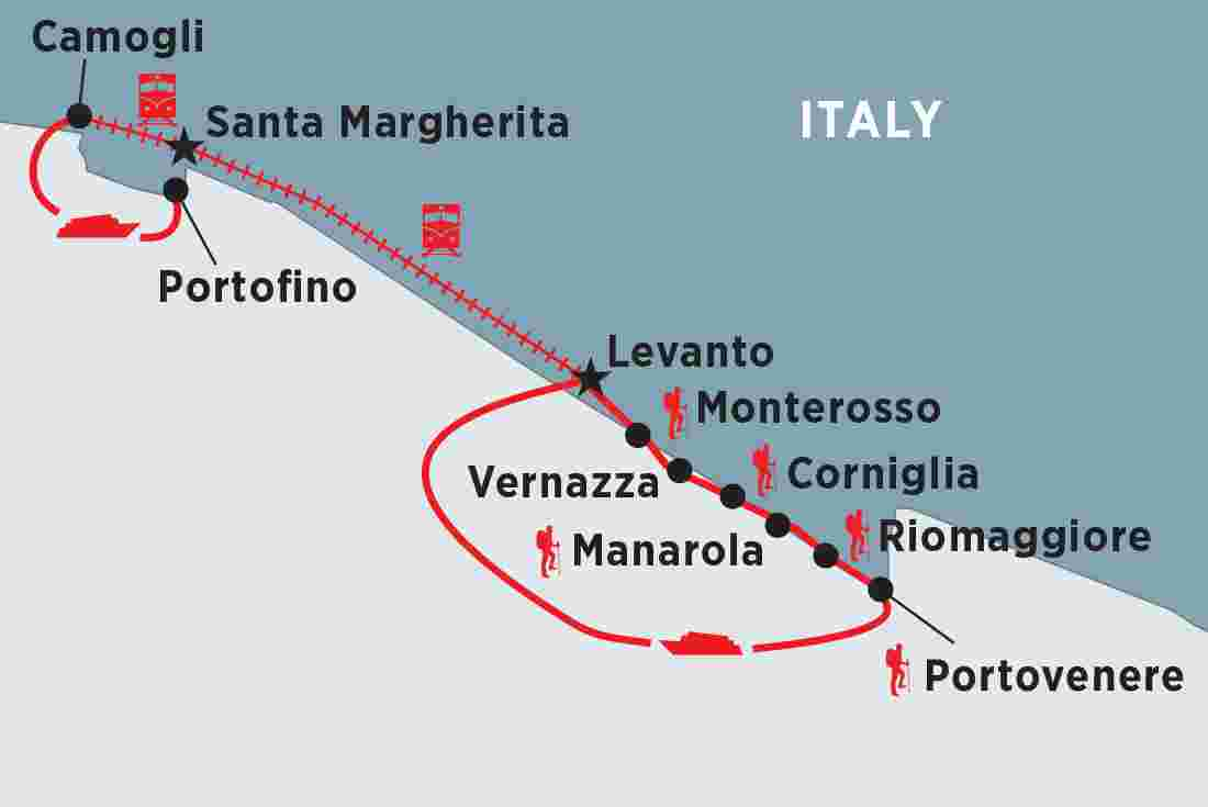 Italy Map Cinque Terre.Walking In Italy The Cinque Terre Peregrine Adventures