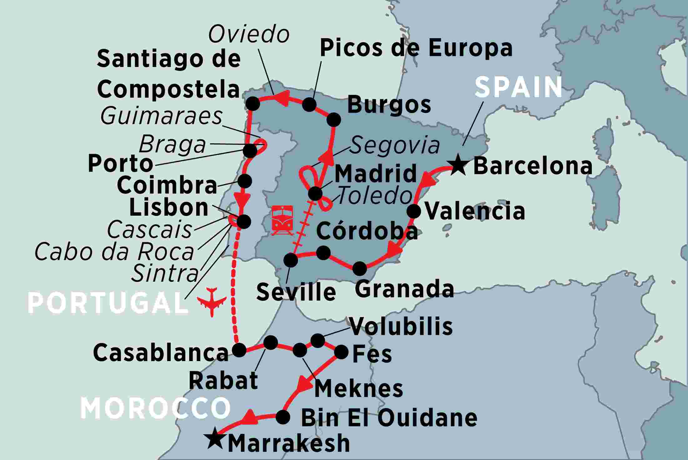 Map Of Spain North Africa.Journey Through Spain Portugal Morocco Peregrine Adventures Us