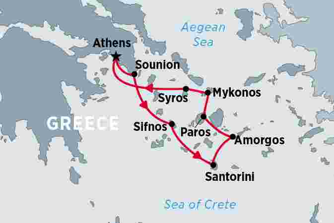 Map of Cruise the Hidden Gems of Greece including Greece