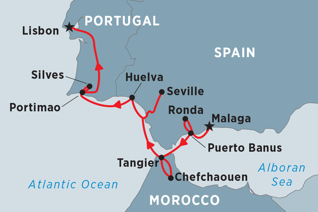 Detailed Map Of Spain Portugal And Morocco.Cruising Spain Portugal Morocco Malaga To Lisbon M Y Harmony V