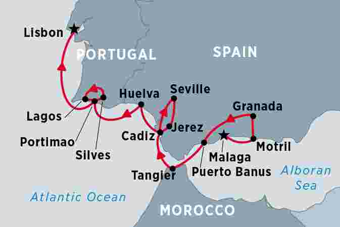Map of Cruising Spain, Portugal and Morocco - Malaga to Lisbon  including Morocco, Portugal and Spain
