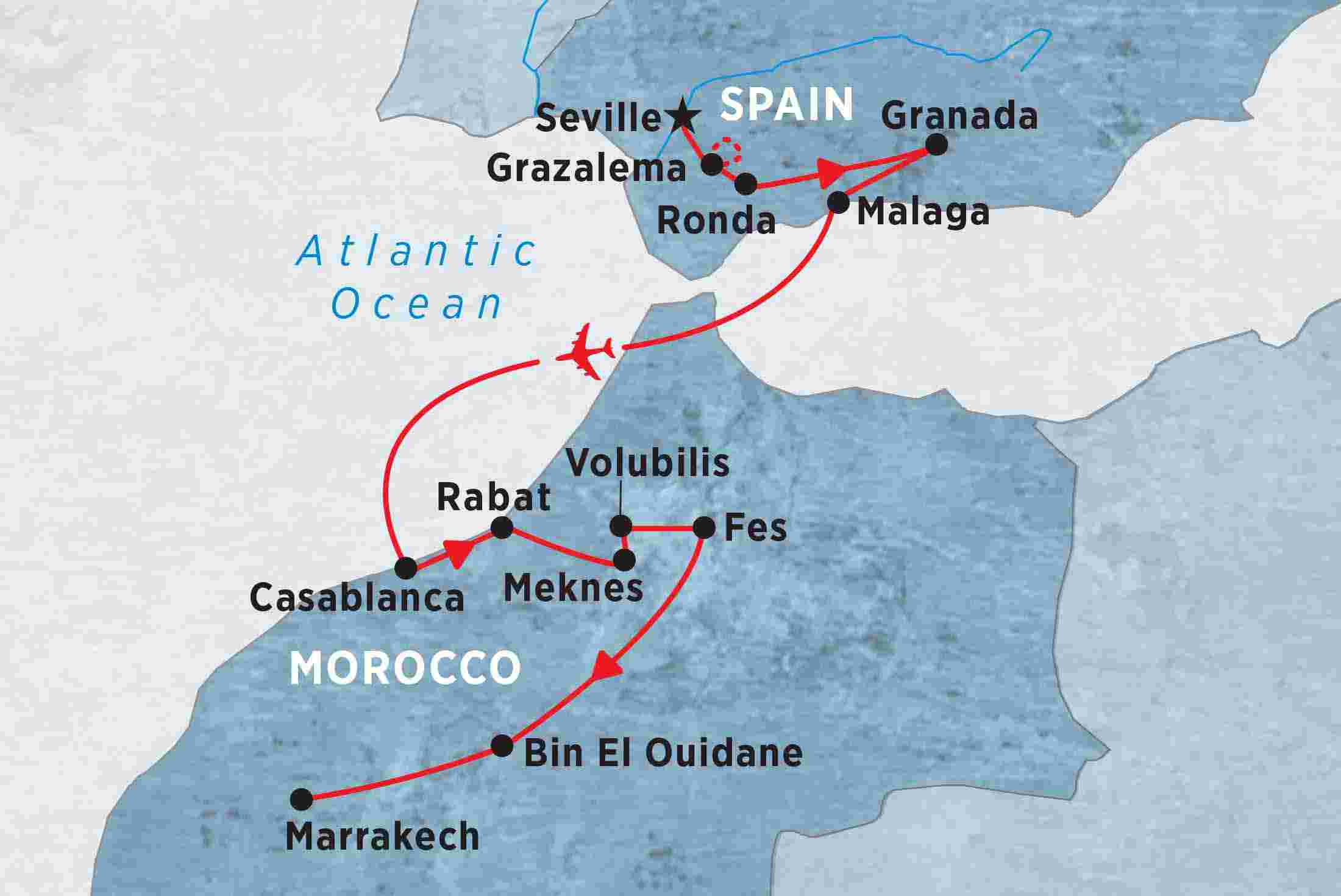 Map Of The South Of Spain.Highlights Of Southern Spain Morocco Overview Highlights Of Southern Spain Morocco