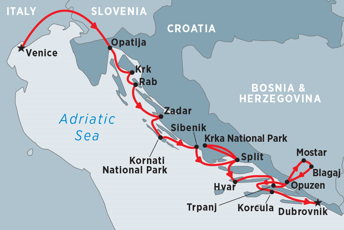 Map Of Italy Showing Venice.Cruise Croatia Venice To Dubrovnik Via Split Overview Cruise Croatia Venice To Dubrovnik Via Split