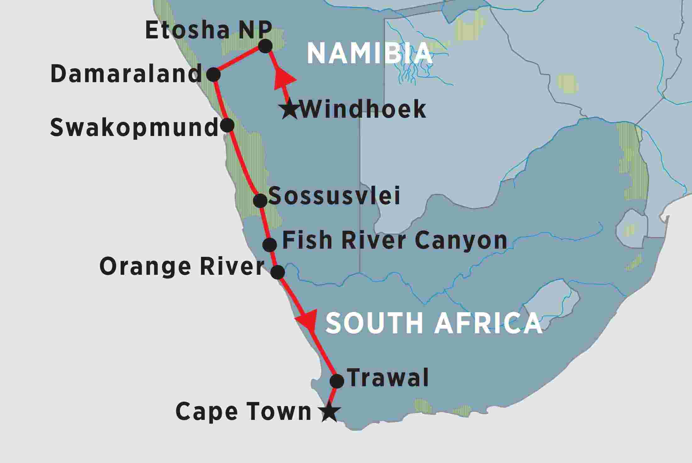 Map Of South Africa And Namibia.Classic Namibia Overview Classic Namibia