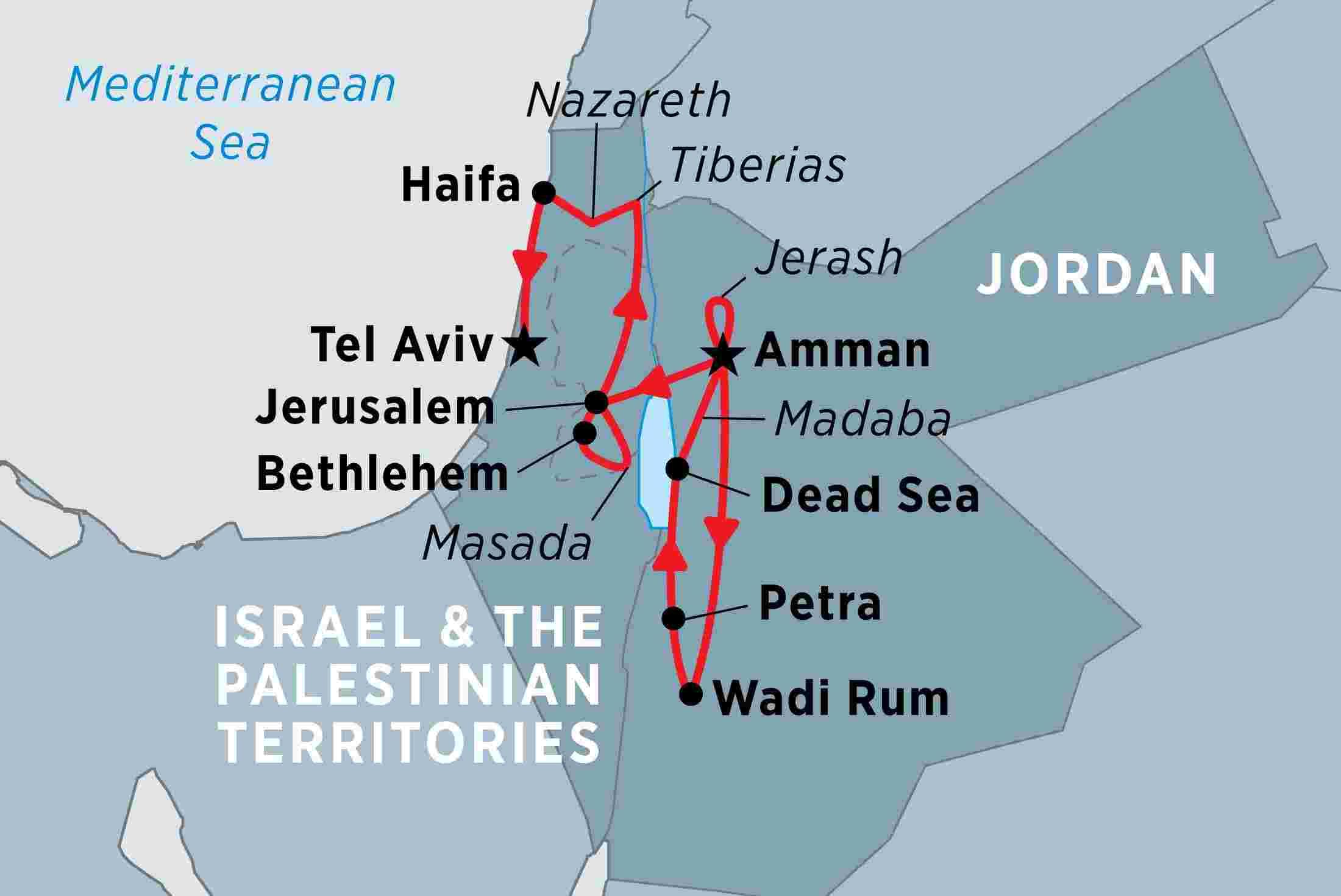 Map Israel with Jordan