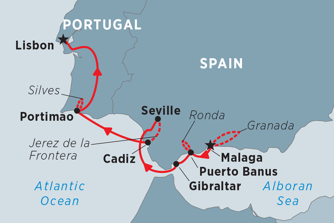 Map Of South West Spain.Cruising Spain And Portugal Malaga To Lisbon Overview Cruising Spain And Portugal Malaga To Lisbon