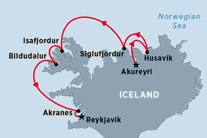Map of Cruising Iceland (The Icelandic) Akureyri to Reykjavik including  Iceland