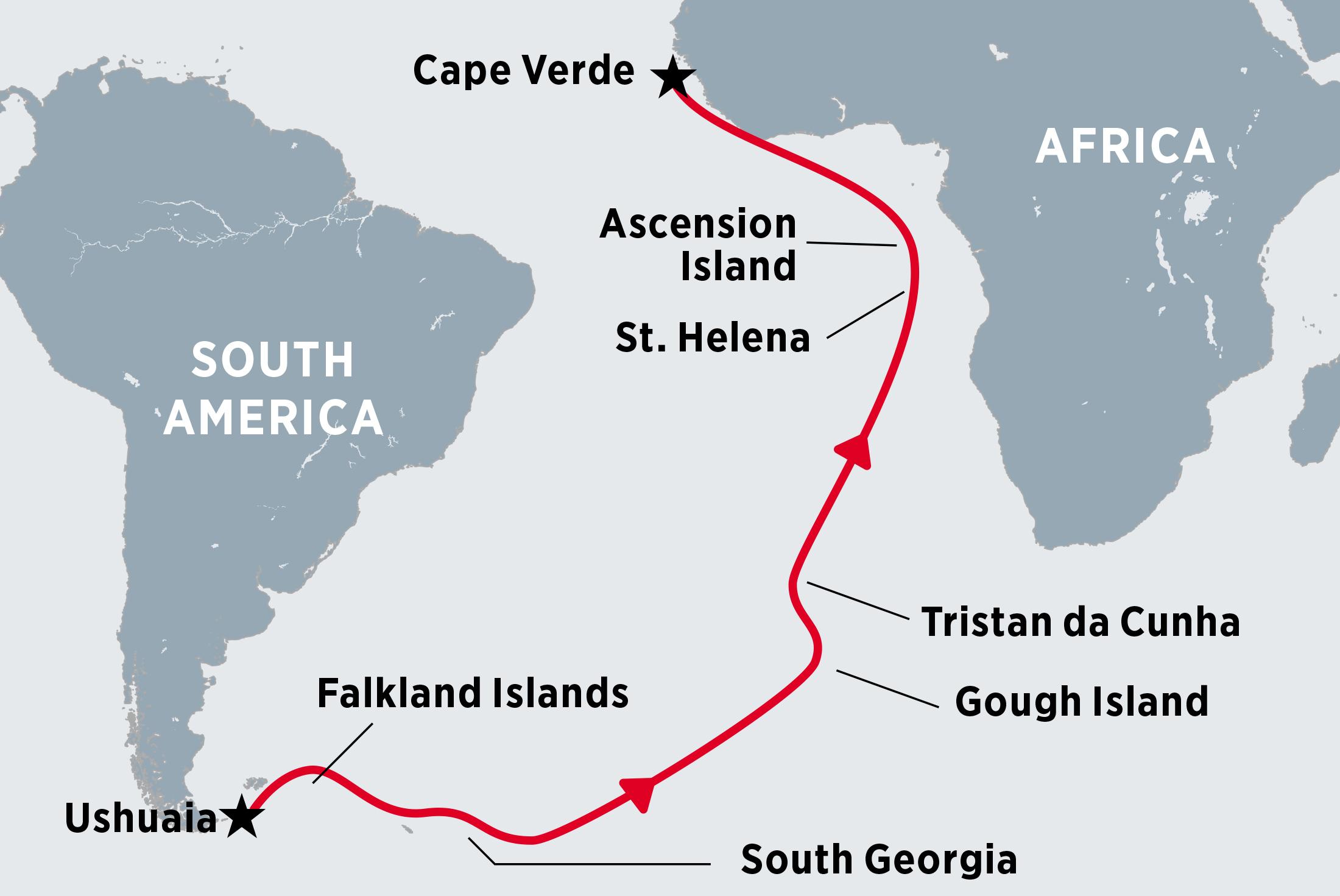 Ushuaia To Cape Verde Via The Atlantic Islands Argentina Tours - Tristan da cunha map