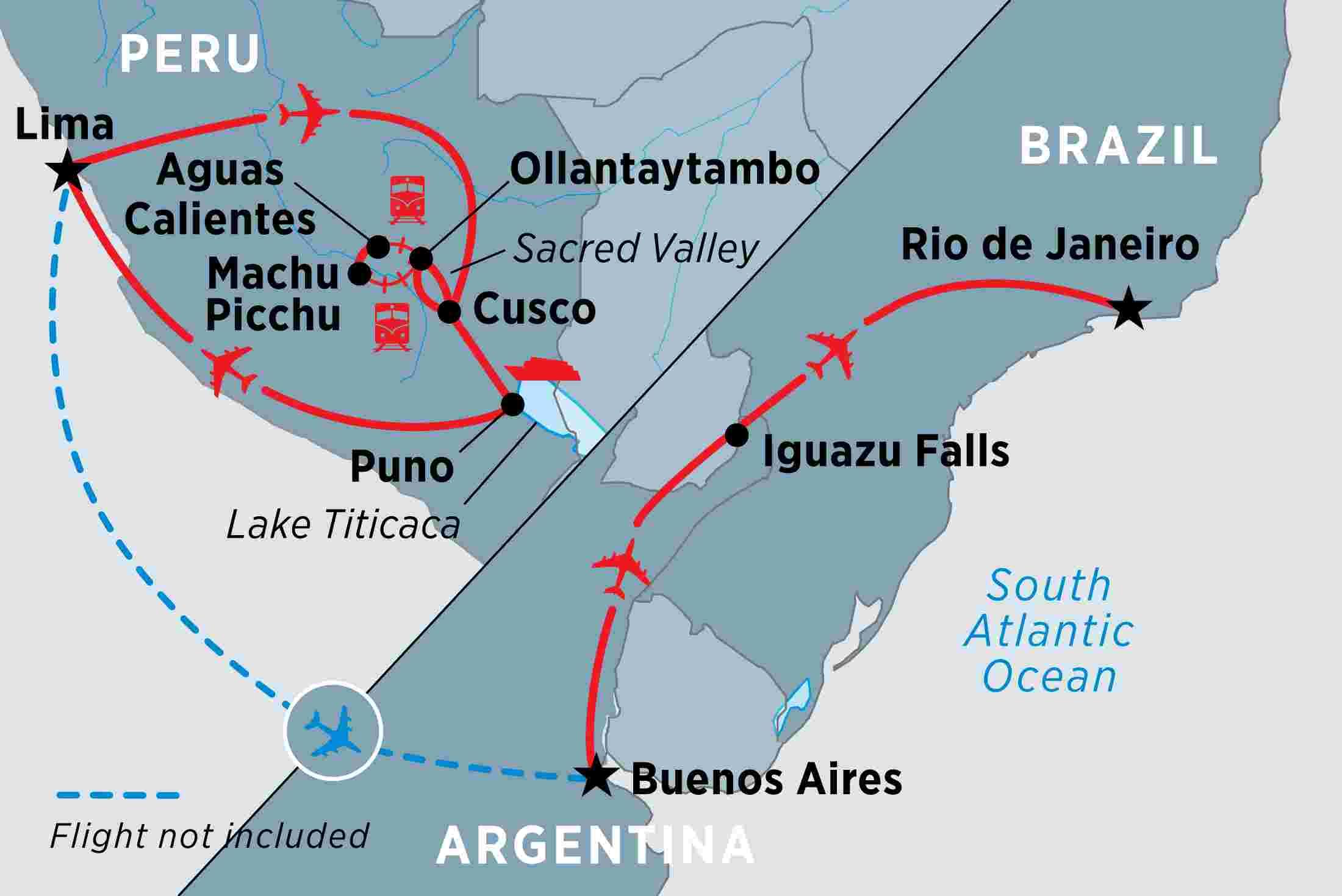 Aguas Calientes Peru Map.Peru Argentina Brazil Highlights Overview Peru Argentina Brazil Highlights